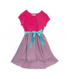 Pinky Pink/Turq Chiffon Girls Dress