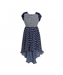 BONNIE JEAN NAVY STRIPPED/PLEATED POLKA HI-LOW WT LACY ILLUSION DRESS- 10Y