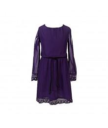 2 Hip Purple Lace -Trimmed Chiffon Dress