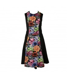 Olsenboye Multi Floral/Black Panel Fit N Flare Dress