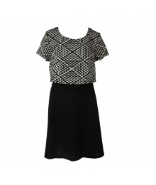 City Triangles Black/White Crop-Top (Cape) Dress