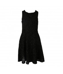 Speechless Black Lace With Silver Dotted Glitter Skate Dress Juniors