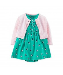 Carters Green Wt Bird Print Dress Nd Stripped Pink Cardigan Set