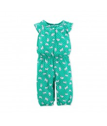 Carters Green Jump Suit Wt Cat Print