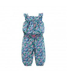 Carters Blue Multi Floral Print Girls Jumpsuit