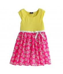 Pinky Neon Yellow Wy Fush Floral Chiffon Print Dress