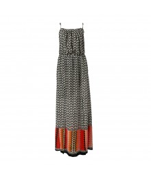 Heartsoul White/Black Geometric Chiffon Axi Dress Wt Slits