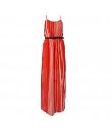 Lily Rose Coral Stripped Maxi Brown Belted Maxi Dress