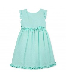 Penelope Green Mint Dress With Embdry N Ruffles