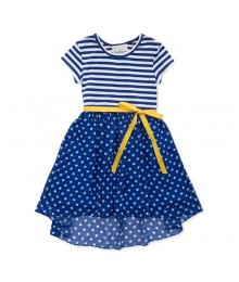 Rare Editions Navy Stripped/Polka Dot Hi-Low Dress Wt Yellow Belt Little Girl