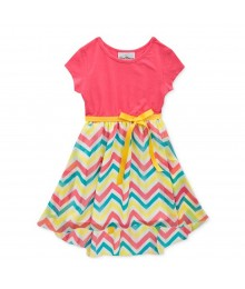 Rare Editions Pink Wt Multi Chevron Print Hi-Low Dress Wt Yellow Belt Little Girl