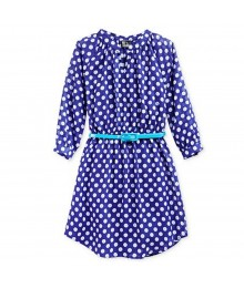 Pink & Violet Navy Polka Dot Shirt Dress Wt Turq Belt