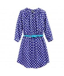 Pink & Violet Navy Polka Dot Shirt Dress Wt Turq Belt