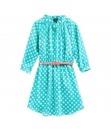 Pink & Violet Green Polka Dot Shirt Dress Wt Orange Belt
