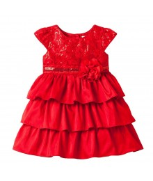 Youngland Red Sequin Tiered Ruffle Dress Little Girl