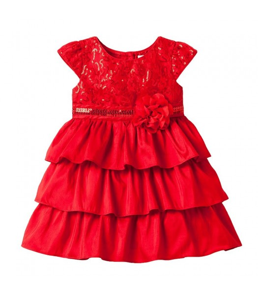 Youngland Red Sequin Tiered Ruffle Dress