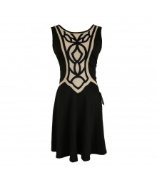 Jodi Kristopher Black Wt Nude Paneled Flared Dress