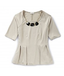 Soulmates Beige Peplum Top Wt Necklace Juniors