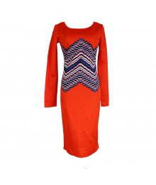 Gb Red Midi Dress Wt Blue/Black/White Middle Partern