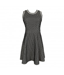 Xoxo Black/White Flared Dress With Mesh