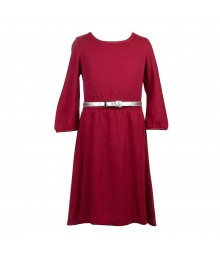 2-Hip Fuchsia Hi-Low Dress Wt Silver Belt Big Girl