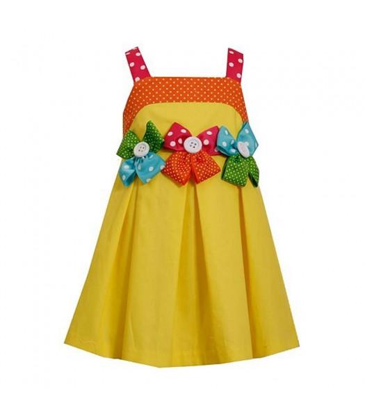 Jessica Ann Yellow Bow & Botton Dress