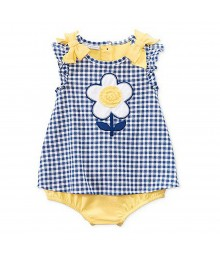 First Impressions Blue Checkers Wt Yellow Bow N Flower Sunsuit Baby Girl