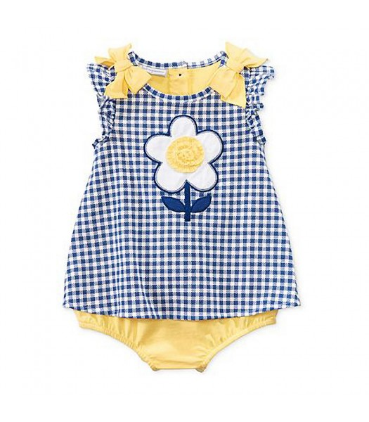 First Impressions Blue Checkers Wt Yellow Bow N Flower Sunsuit