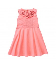 Gymboree Pink Cotton Dress Wt Petal Appliq Neck Line
