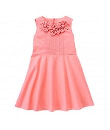Gymboree Pink Cotton Dress Wt Petal Appliq Neck Line