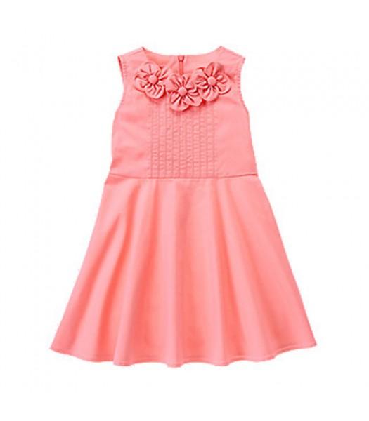 Gymboree Pink Cotton Dress Wt Petal Appliq Neck Line Little Girl