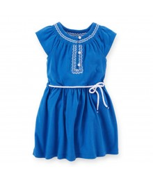 Carters Blue Embroidered Jersey Dress Little Girl