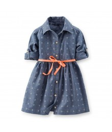 Carters Chambray Anchor Print L/Sleeve Shirt Dress Wt Neon Belt