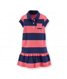 Carters Coral/Navy Bar Stripped Pique Dress