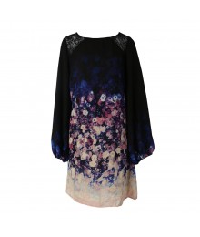 Love Fire Navy Blurred Floral Print L/S Shift Dress