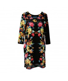 Love Fire Black Wt Multi Colored Floral Print Shift Dress