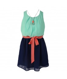 Amy Byer Mint/Navy Color Block Chiffon Dress Wt Peach Belt/Necklace Little Girl