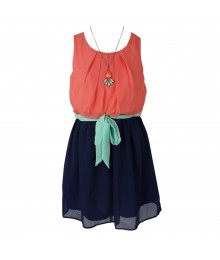 Amy Byer Peach/Navy Color Block Chiffon Dress Wt Mint Belt/Necklace Big Girl