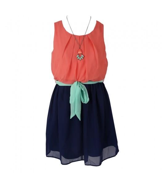 Amy Byer Peach/Navy Color Block Chiffon Dress Wt Mint Belt/Necklace
