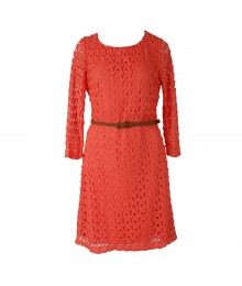 Red Camel Coral Belted Crochet Sheath Dress