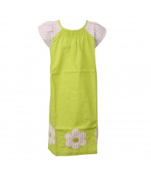 J Khaki Lemon Green Dress Wt Pink/White Sleeve N Floral Appliq