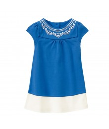 Gymboree Blue/White Color Block Embroidery Neck Dress