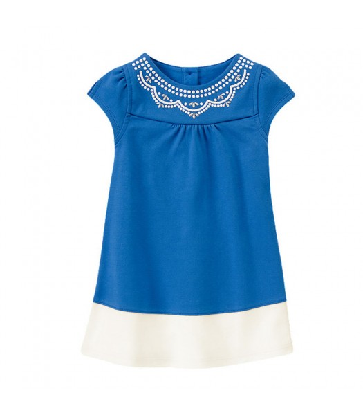 Gymboree Blue/White Color Block Embroidery Neck Dress Baby Girl