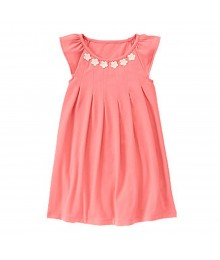 Gymboree Coral/Pink Dress Wt Daisy Appliq Neckline Little Girl