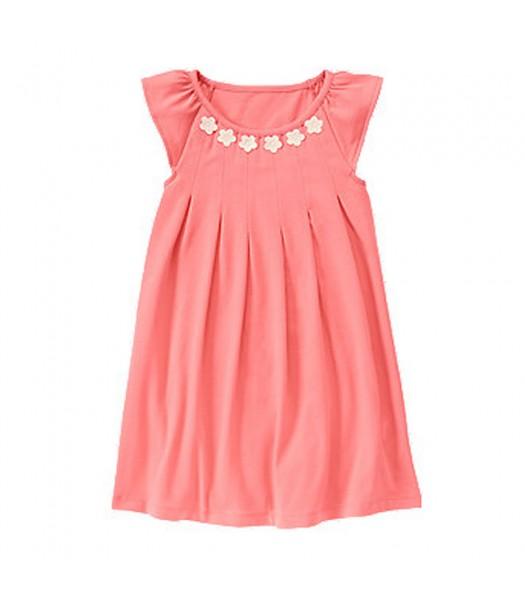Gymboree Coral/Pink Dress Wt Daisy Appliq Neckline Little Girl