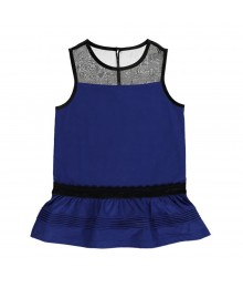 Kc Parker Blue Drop-Waist Illusion Gilrs Top