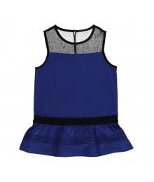Kc Parker Blue Drop-Waist Illusion Gilrs Top