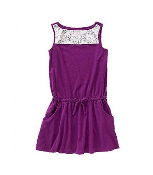 Crazy 8 Purple Drop Waist Lace Paneled Girls Top