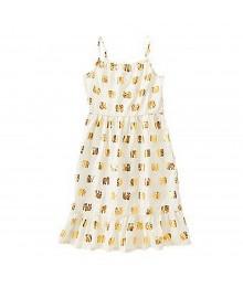 Crazy 8 Cream Dress Wt Gold Metallic Elephant Print