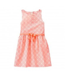 Crazy 8 Coral Neon Dress Wt Geo Tree Print All Over Big Girl